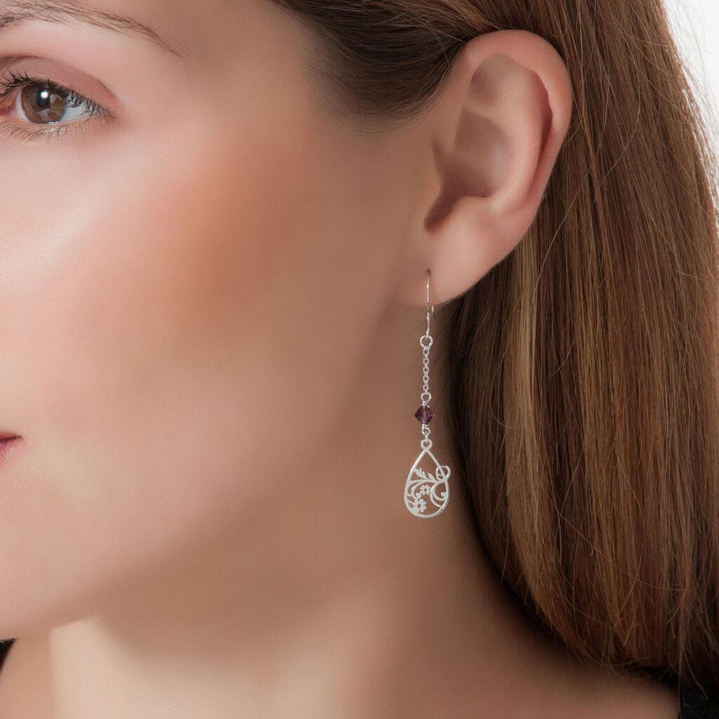 Boucles D'oreilles Pendantes Oumoul Argent Blanc Pierre De Synthese - Boucles d'oreilles fantaisie Femme   Histoire d'Or
