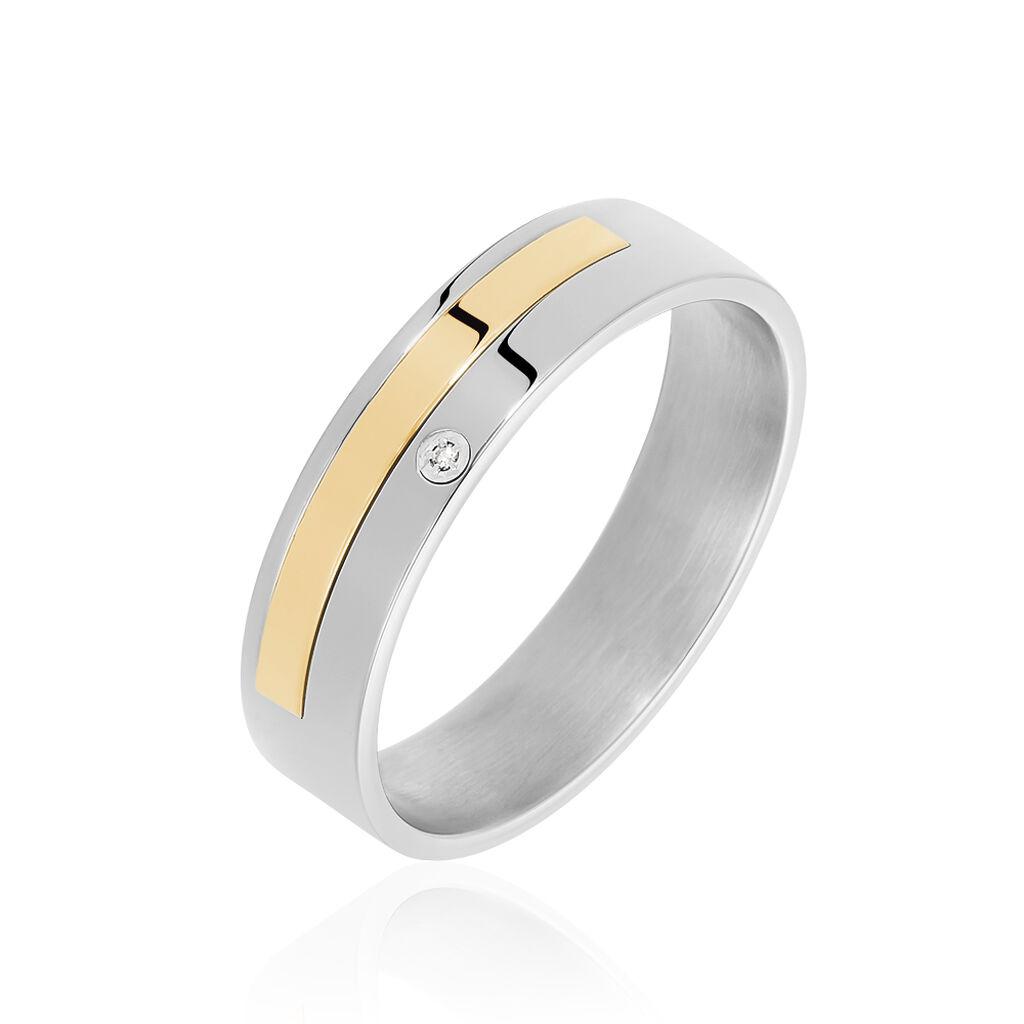Bague Ahou Or Acier Bicolore Diamant - Bagues avec pierre Homme   Histoire d'Or