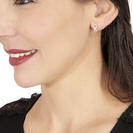Boucles D'oreilles Puces Klothilda Or Blanc Oxyde De Zirconium - Boucles d'Oreilles Infini Femme | Histoire d'Or