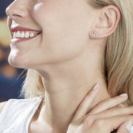 Boucles D'oreilles Puces Abbey Or Blanc Diamant - Boucles d'Oreilles Plume Femme   Histoire d'Or