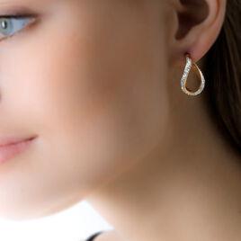 Créoles Desire Torsadees Rondes Or Jaune Strass - Boucles d'oreilles créoles Femme | Histoire d'Or
