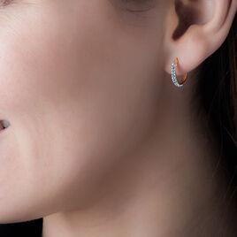 Créoles Sandrine Rondes Or Jaune Strass - Boucles d'oreilles créoles Femme | Histoire d'Or