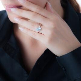 Bague Mairame Or Blanc Topaze Et Diamant - Bagues avec pierre Femme   Histoire d'Or
