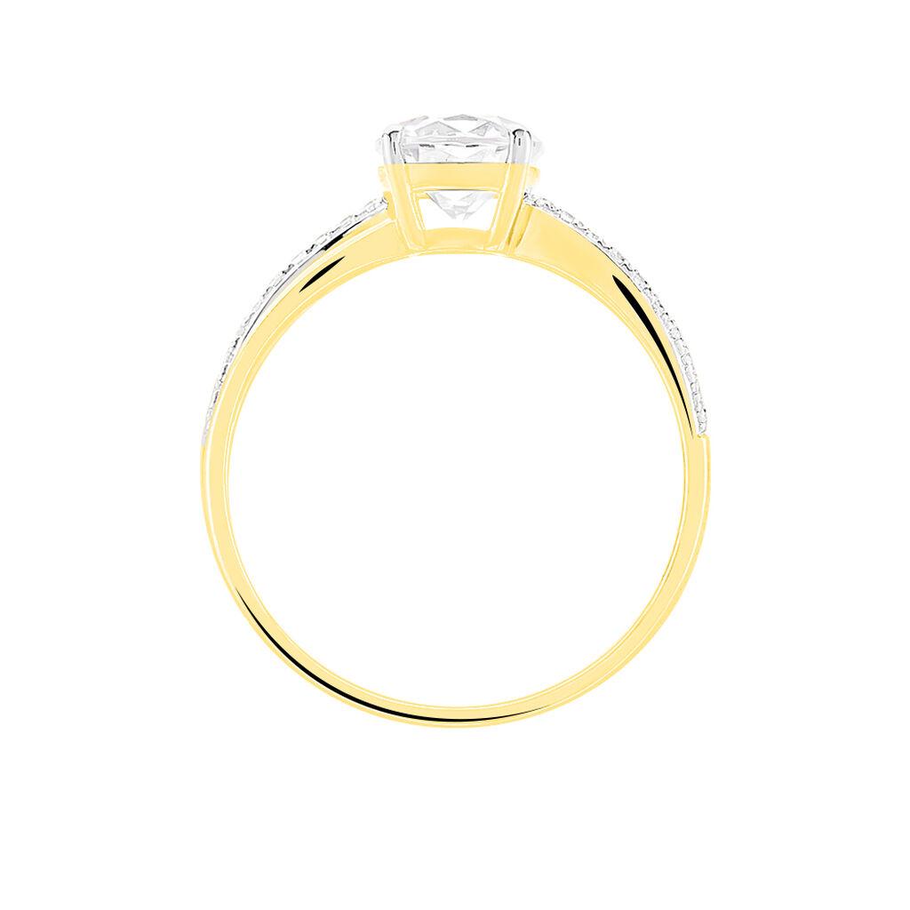 Bague Solitaire Ofelie Or Jaune Oxyde De Zirconium - Bagues avec pierre Femme   Histoire d'Or