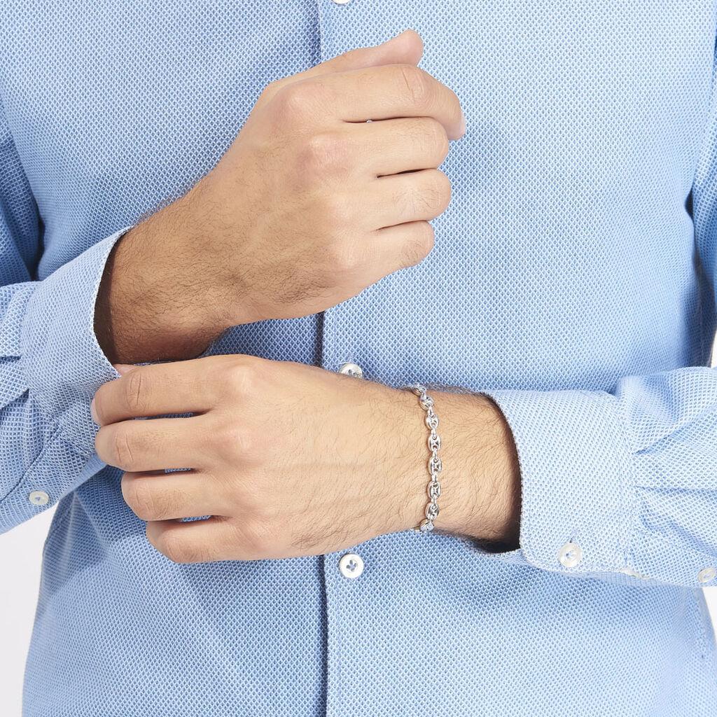 Bracelet Caroline Maille Grain De Cafe Argent Blanc - Bracelets chaîne Homme | Histoire d'Or