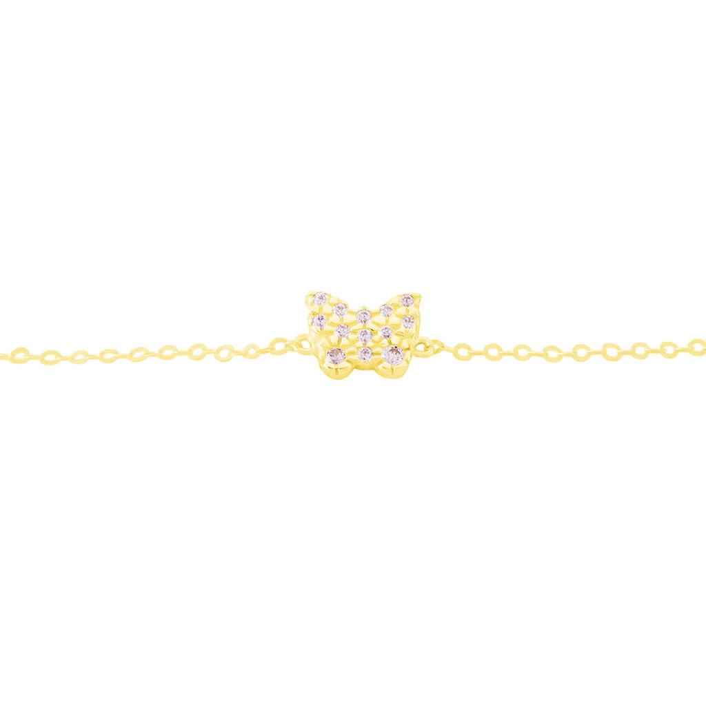 Bracelet Orchidee Or Jaune Oxyde De Zirconium - Bracelets Naissance Enfant | Histoire d'Or