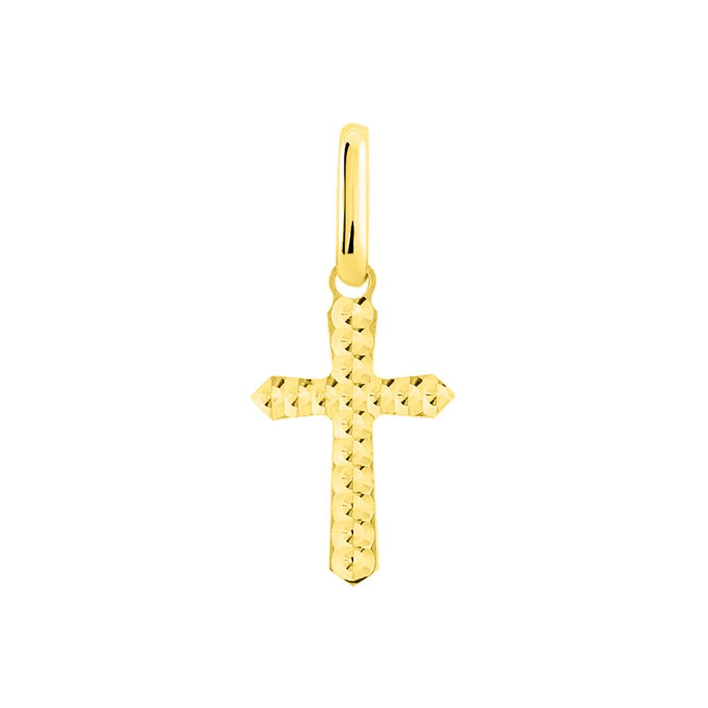 Pendentif Bathilde Croix Diamantee Or Jaune - Pendentifs Croix Famille   Histoire d'Or