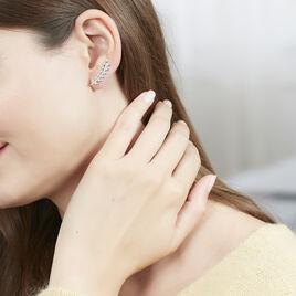Bijoux D'oreilles Argent Rhodie Folia Feuille - Boucles d'Oreilles Plume Femme | Histoire d'Or