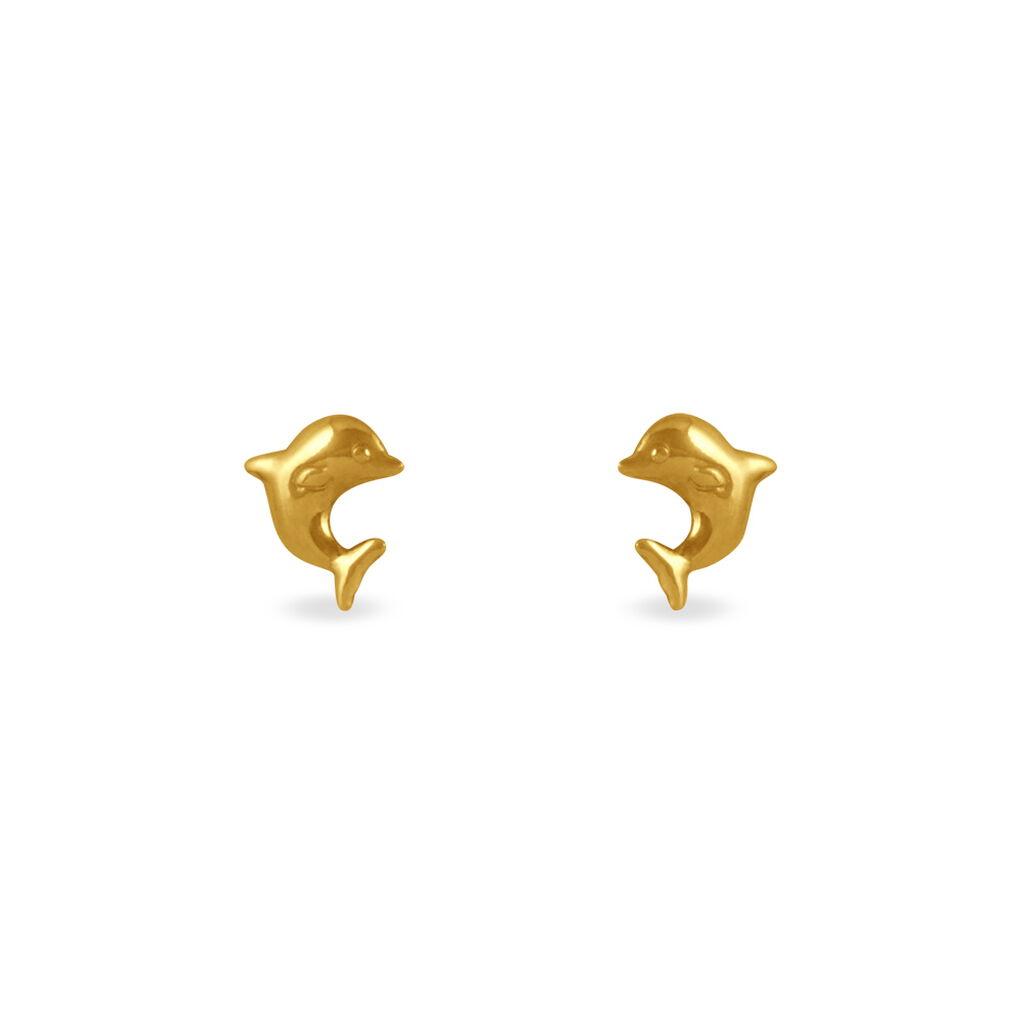 Boucles D'oreilles Puces Fulvie Dauphin Or Jaune - Clous d'oreilles Famille | Histoire d'Or