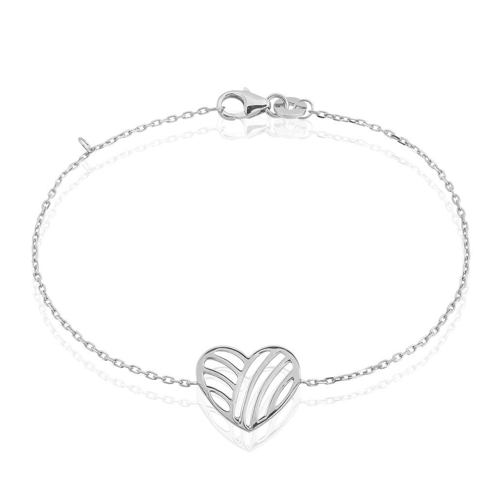 Bracelet Melinda Argent Blanc - Bracelets Coeur Femme   Histoire d'Or