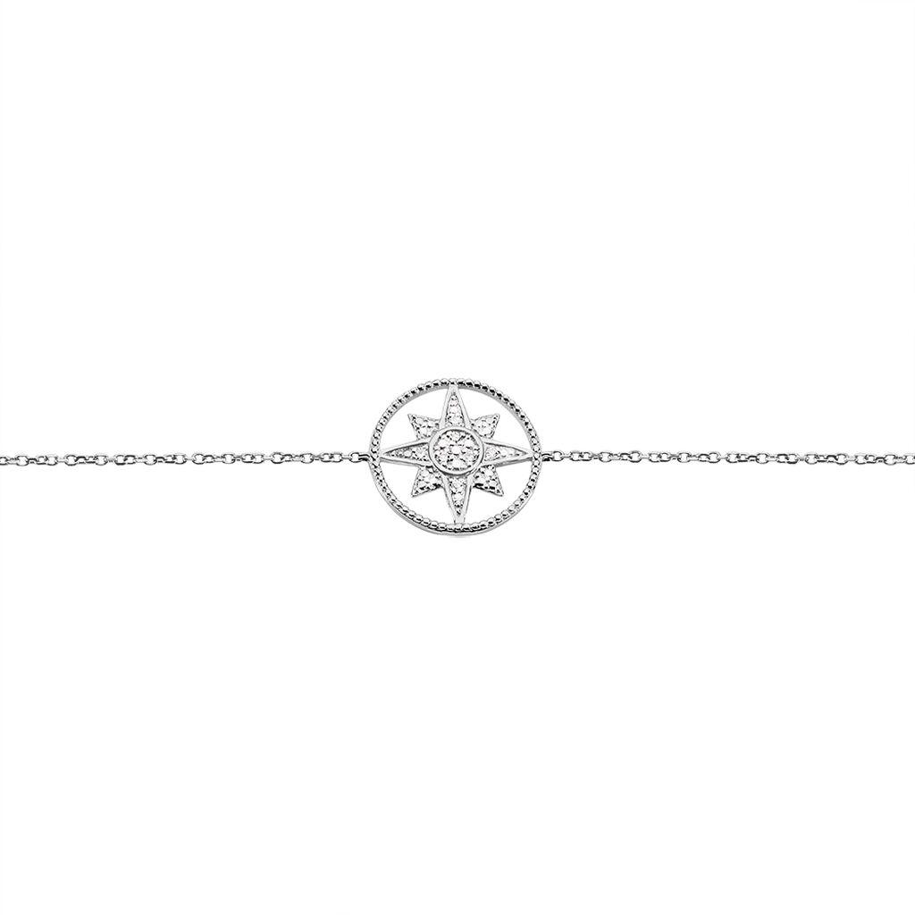 Bracelet Or Blanc Roanna Etoile Diamant - Bijoux Etoile Femme | Histoire d'Or