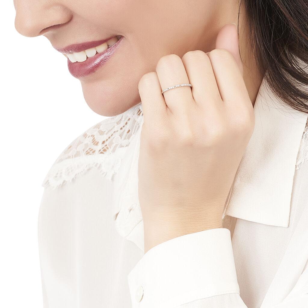 Bague Accumulation Demi Tour Argent Blanc Oxyde De Zirconium - Bagues avec pierre Femme   Histoire d'Or