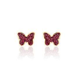Boucles D'oreilles Puces Solena Papillon Or Jaune - Boucles d'Oreilles Papillon Enfant   Histoire d'Or