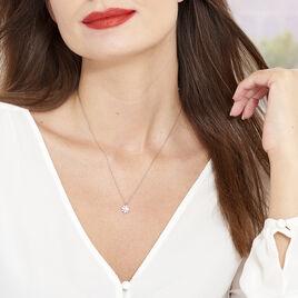 Collier Argent Rose Sima Fleur Oxyde - Colliers fantaisie Femme | Histoire d'Or