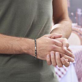 Bracelet Ajustable Acier Gris Et Noir Jaki - Bracelets fantaisie Homme | Histoire d'Or