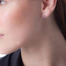 Boucles D'oreilles Pendantes Clothilde Or Jaune Amethyste Et Diamant - Boucles d'Oreilles Coeur Femme | Histoire d'Or