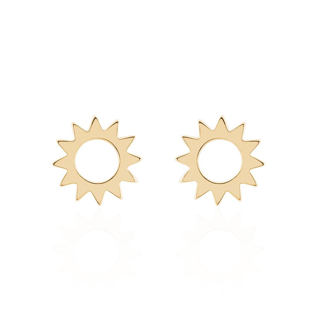 Boucles D'oreilles Puces Adelinda Plaque Or Jaune - Boucles d'oreilles fantaisie Femme   Histoire d'Or