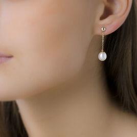 Boucles D'oreilles Pendantes Valera Or Jaune Perle De Culture - Boucles d'oreilles pendantes Femme | Histoire d'Or