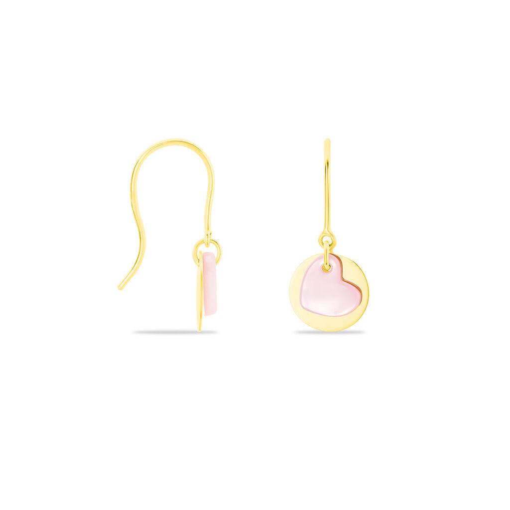 Boucles D'oreilles Pendantes Cleomela Coeur Or Jaune Nacre - Boucles d'Oreilles Coeur Enfant | Histoire d'Or