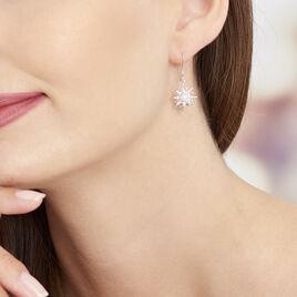 Boucles D'oreilles Pendantes Blanca Argent Blanc Perle De Culture - Boucles d'Oreilles Etoile Femme | Histoire d'Or