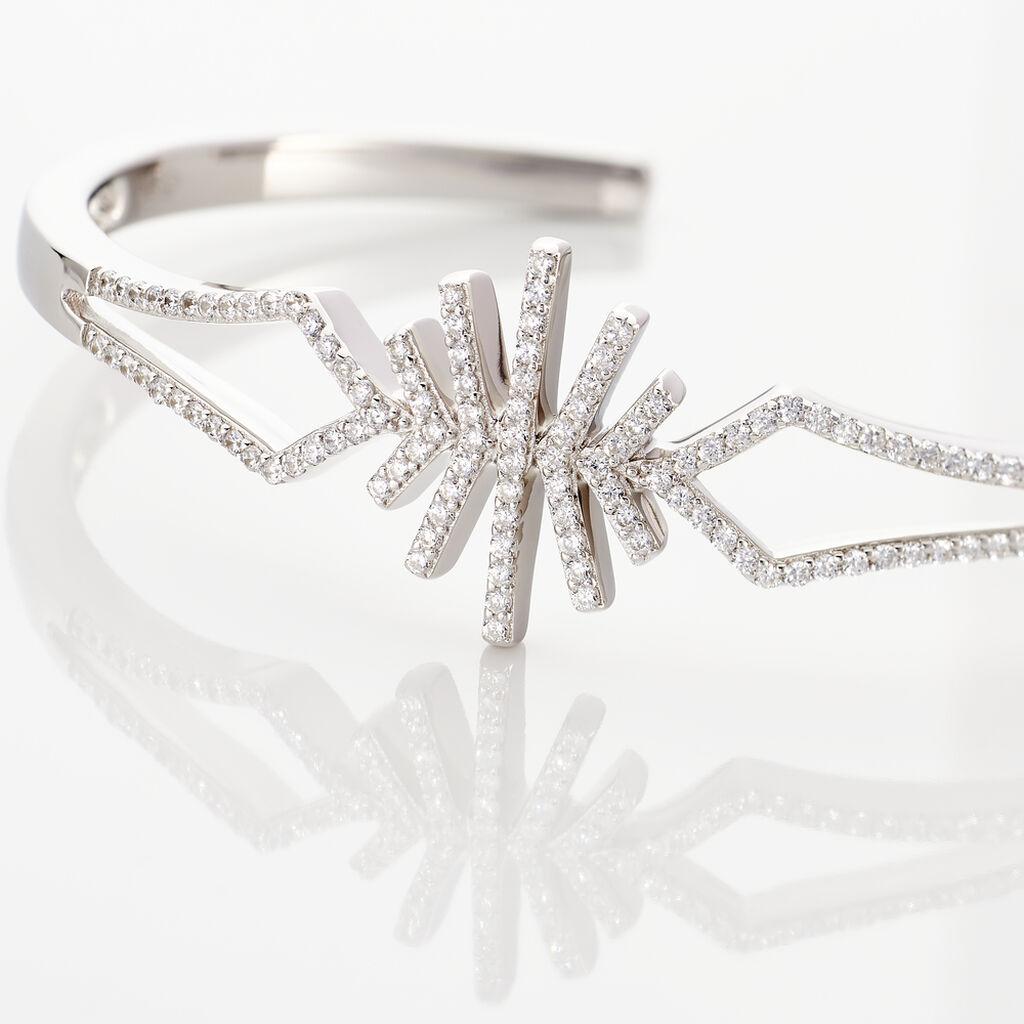 Bracelet Jonc Neli Argent Blanc Oxyde De Zirconium - Bracelets joncs Femme   Histoire d'Or