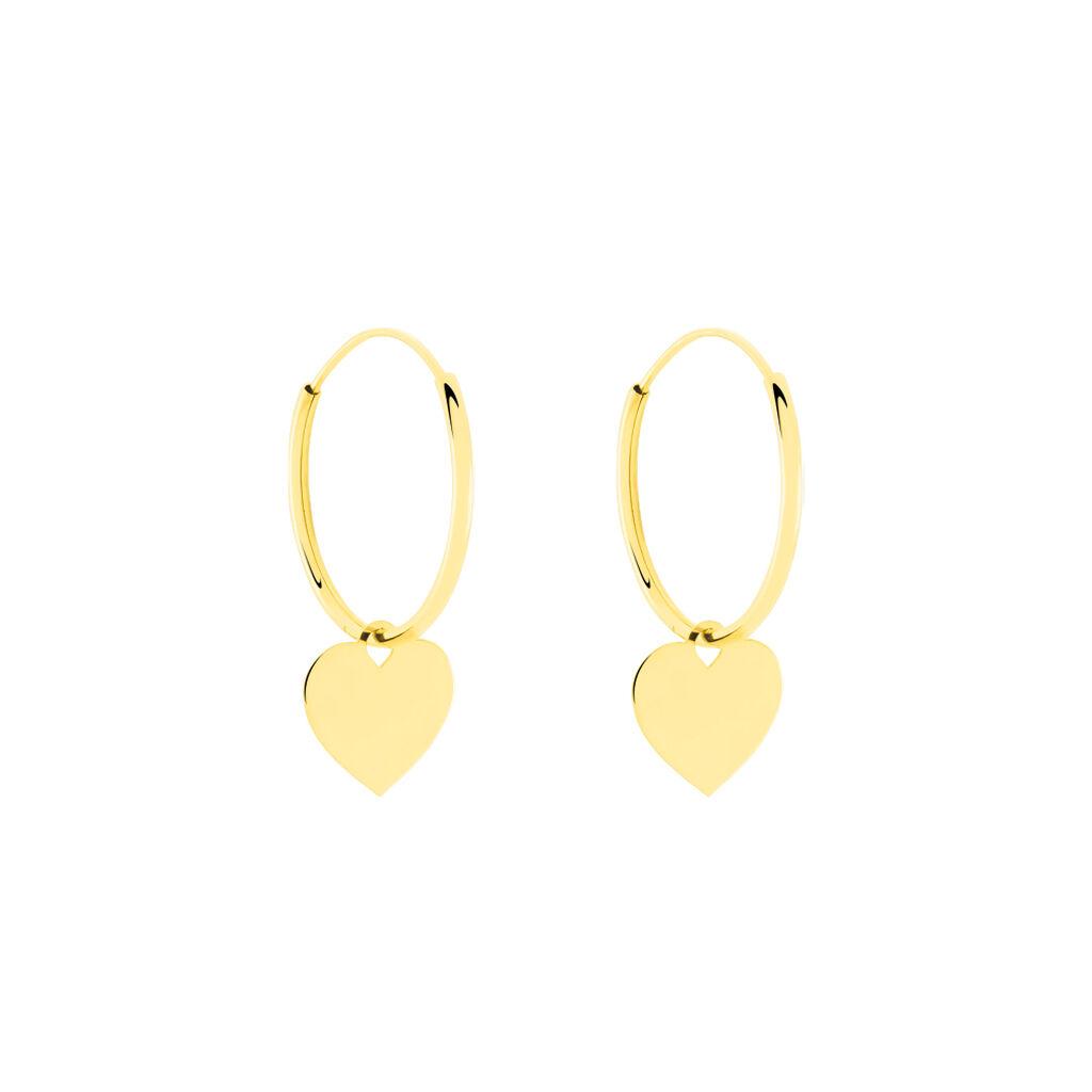 Créoles Belita Pampill Rondes Cœur Or Jaune - Boucles d'Oreilles Coeur Femme   Histoire d'Or