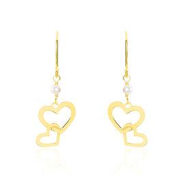 Boucles D'oreilles Pendantes Mariell Double Coeurs Or Jaune - Boucles d'Oreilles Coeur Femme   Histoire d'Or