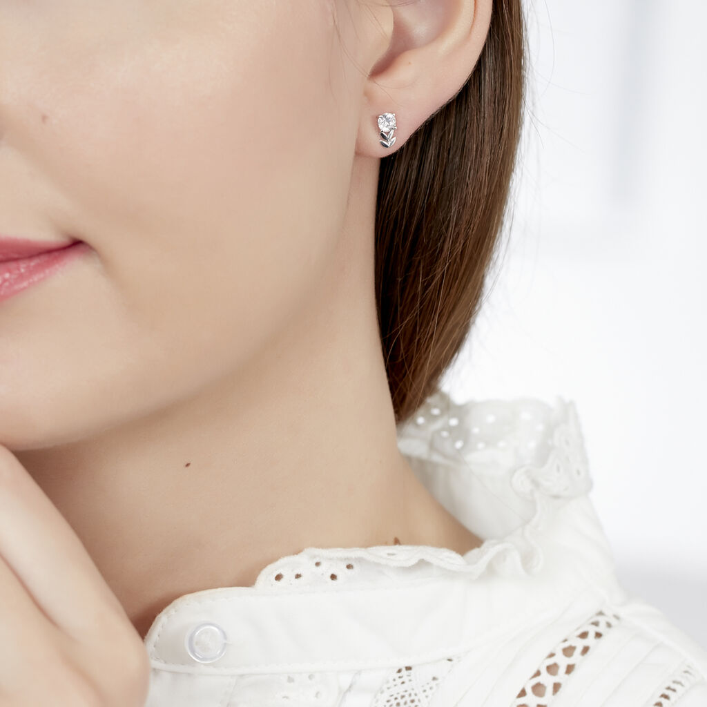 Boucles D'oreilles Puces Rosalba Or Blanc Oxyde De Zirconium - Boucles d'Oreilles Plume Femme   Histoire d'Or