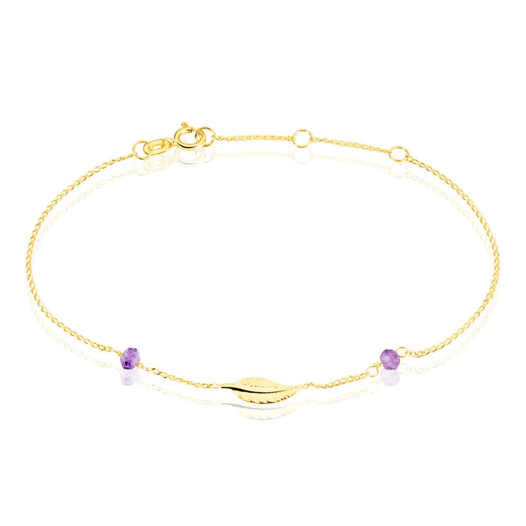 Bracelet Or Jaune Amethyste - Bracelets Plume Femme | Histoire d'Or