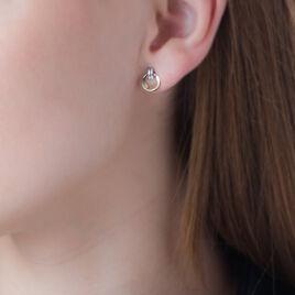 Boucles D'oreilles Puces Berangere Cercle Or Bicolore - Clous d'oreilles Femme | Histoire d'Or