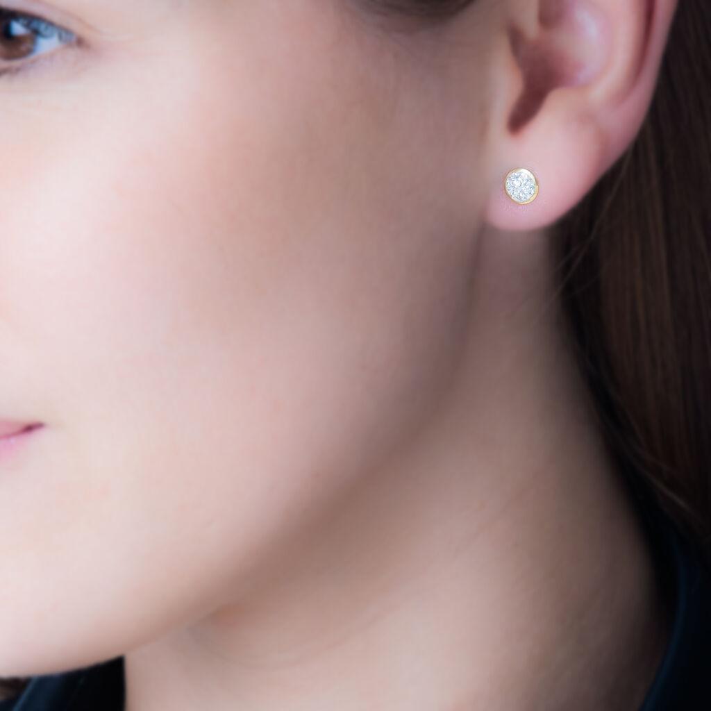 Boucles D'oreilles Puces Edmee Cercle 0 Or Jaune Strass - Clous d'oreilles Femme   Histoire d'Or