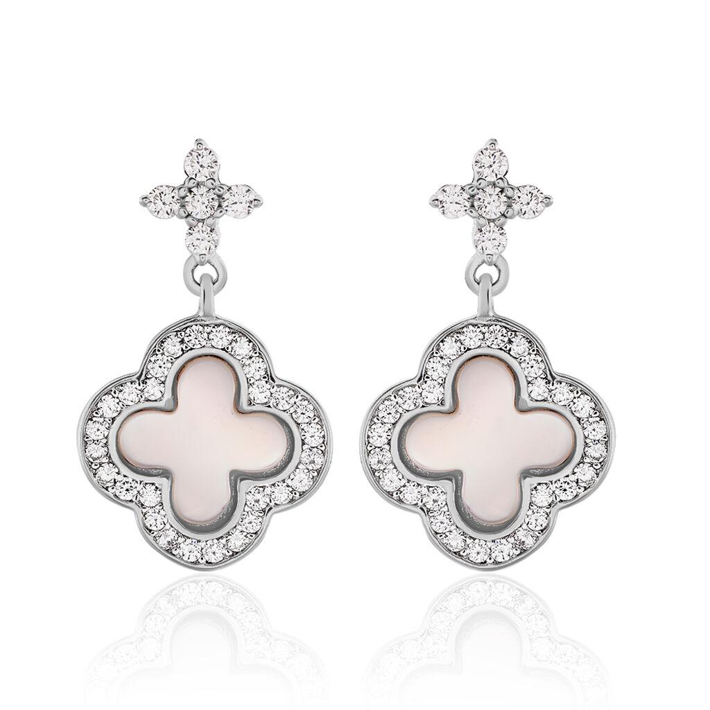 Boucles D'oreilles Pendantes Hapsa Argent Blanc Oxyde De Zirconium - Boucles d'Oreilles Trèfle Femme | Histoire d'Or