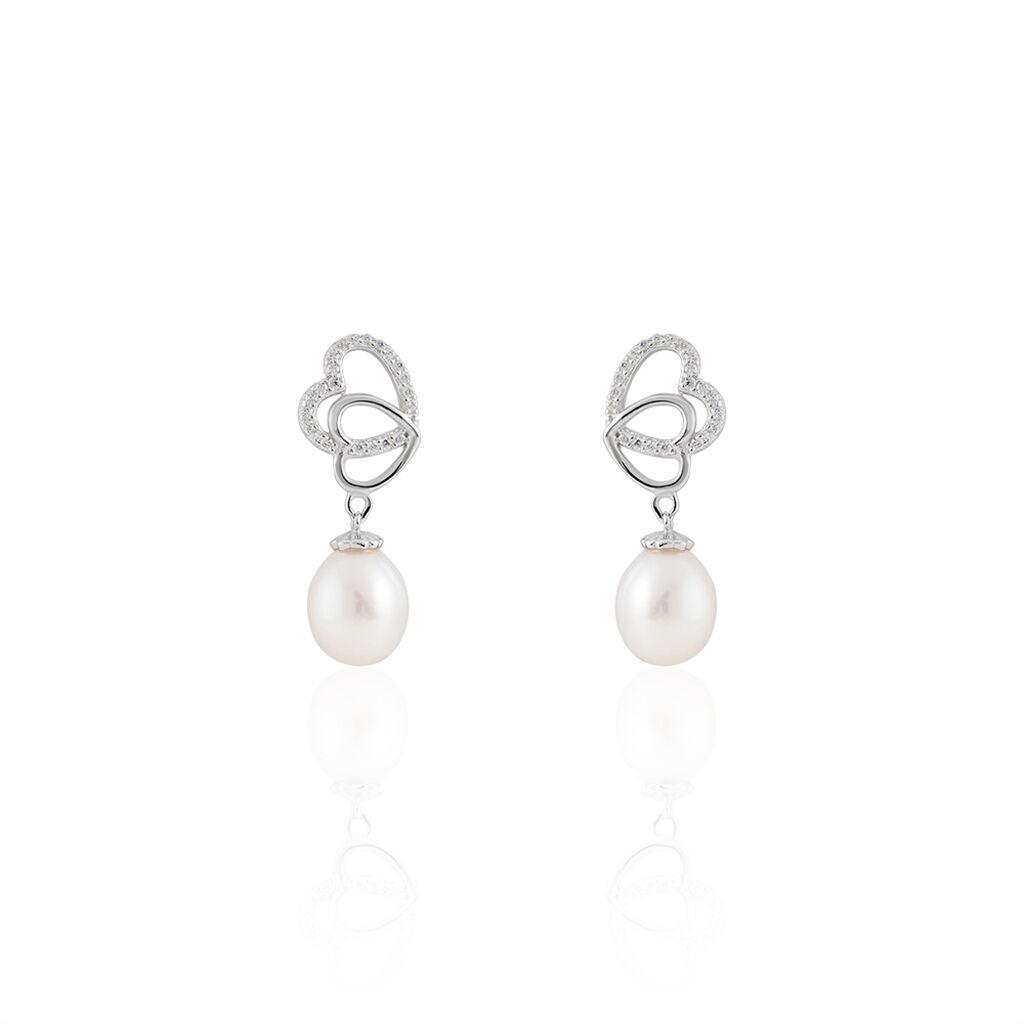 Boucles D'oreilles Pendantes Rosella Argent Perle De Culture Et Oxyde - Boucles d'Oreilles Coeur Femme | Histoire d'Or