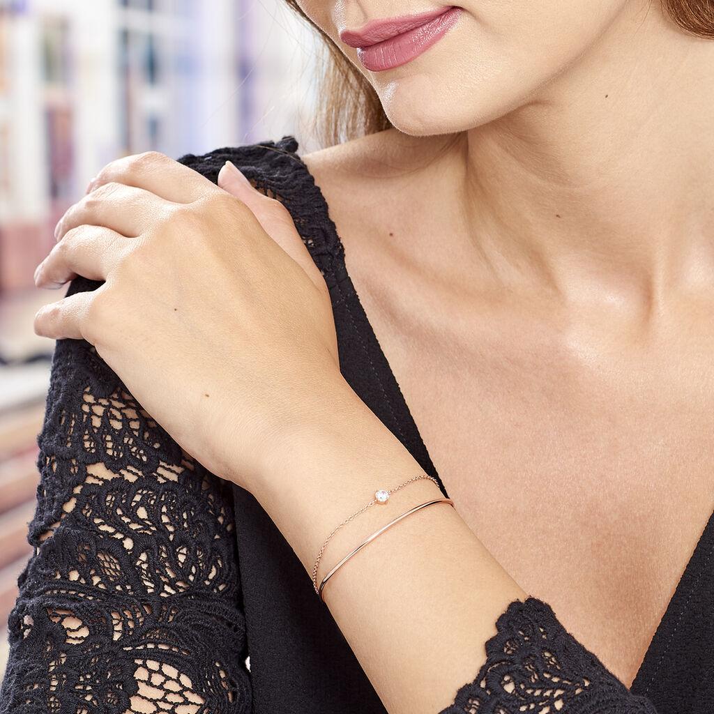 Bracelet Jonc Ruth Argent Rose Oxyde De Zirconium - Bracelets fantaisie Femme   Histoire d'Or