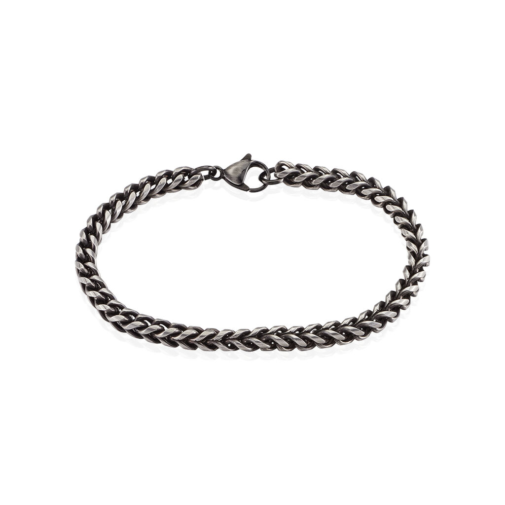 Bracelet Jasone Maille Franco Acier Gris - Bracelets fantaisie Homme   Histoire d'Or