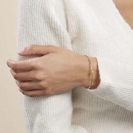 Bracelet Jonc Marinne Plaque Or Jaune Oxyde De Zirconium - Bracelets fantaisie Femme | Histoire d'Or