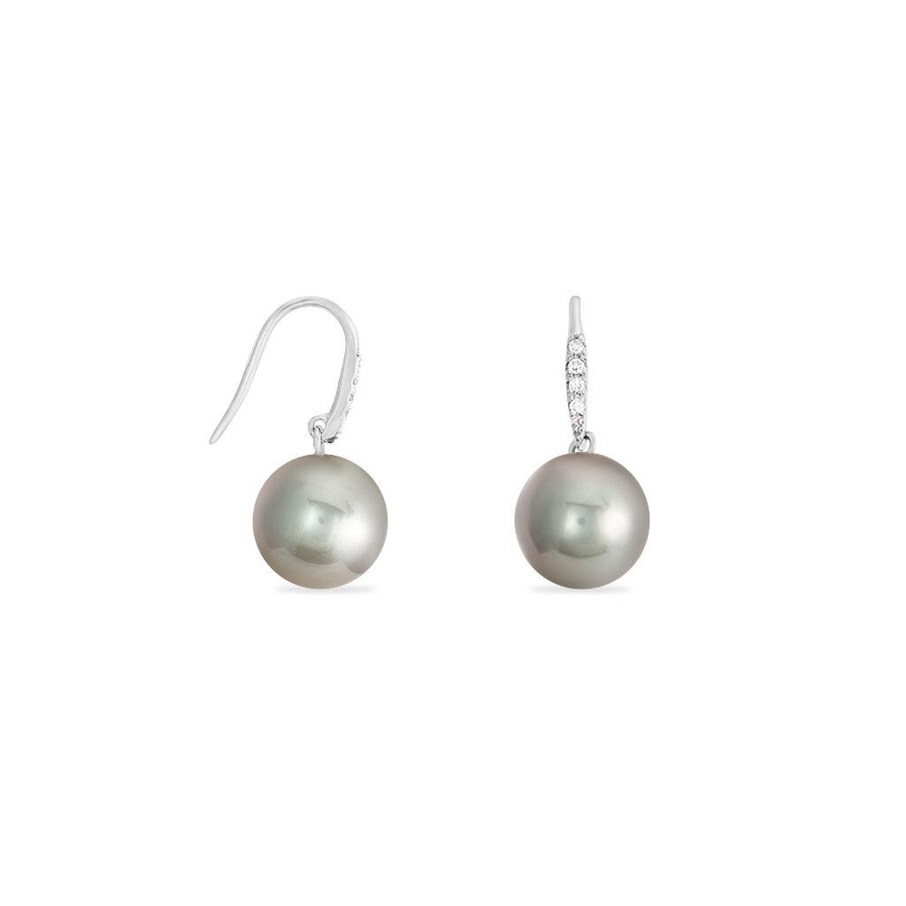 Boucles D'oreilles Puces Elfrea Or Blanc Perle De Tahiti Et Diamant - Boucles d'oreilles pendantes Femme | Histoire d'Or