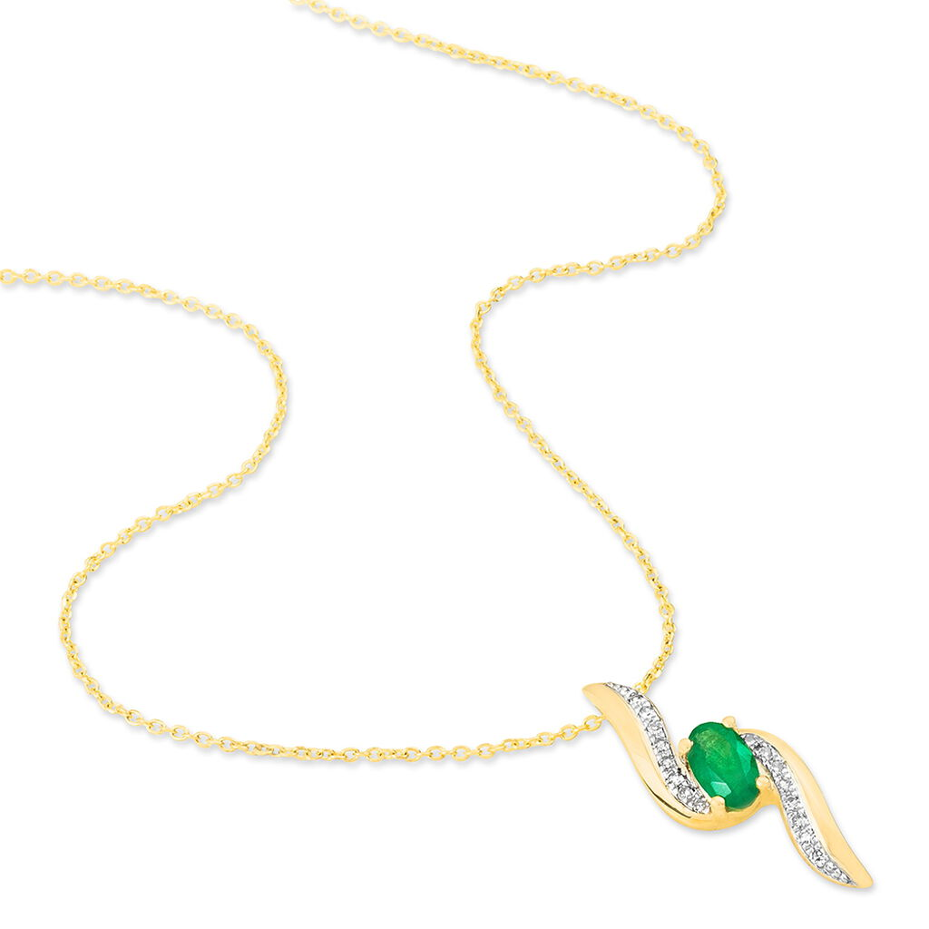 Collier Or Jaune Emeraude Et Diamant