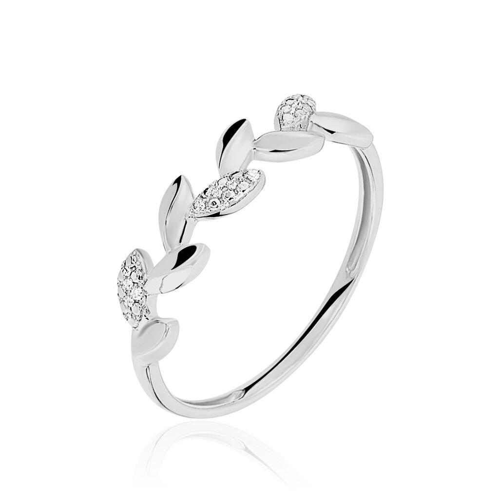 Bague Anthea Or Blanc Diamant - Bagues Plume Femme   Histoire d'Or