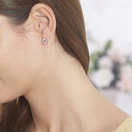 Boucles D'oreilles Puces Eldia Argent Rose Oxyde De Zirconium Diamant - Boucles d'oreilles fantaisie Femme | Histoire d'Or