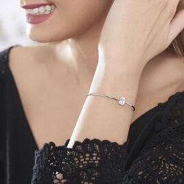 Bracelet Jonc Elianne Argent Blanc Oxyde De Zirconium - Bracelets fantaisie Femme | Histoire d'Or