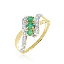 Bague Simma Or Jaune Diamant Et Emeraude - Bagues avec pierre Femme   Histoire d'Or