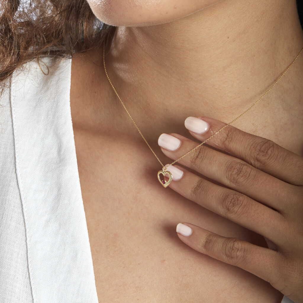 Collier Martella Or Jaune Rubis - Colliers Coeur Femme   Histoire d'Or