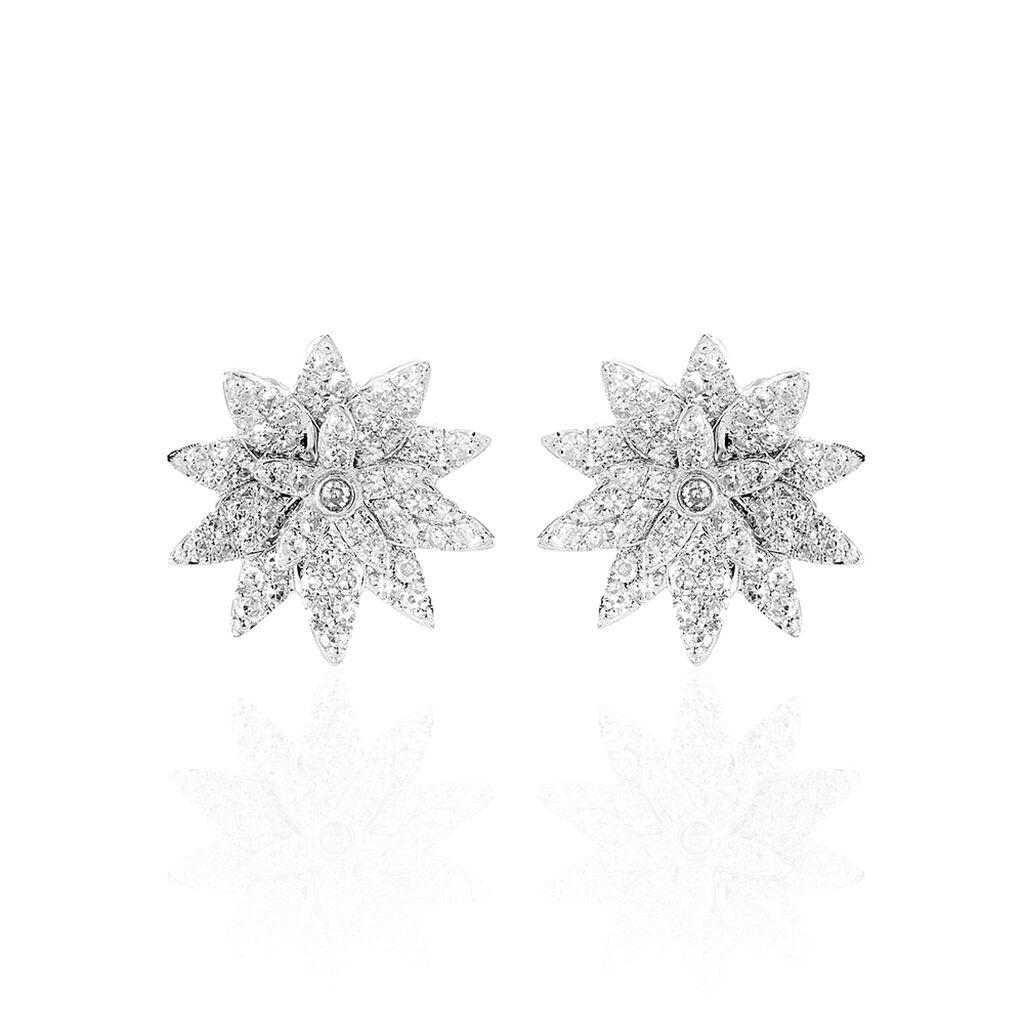 Boucles D'oreilles Puces Maddi Or Blanc Diamant - Clous d'oreilles Femme | Histoire d'Or