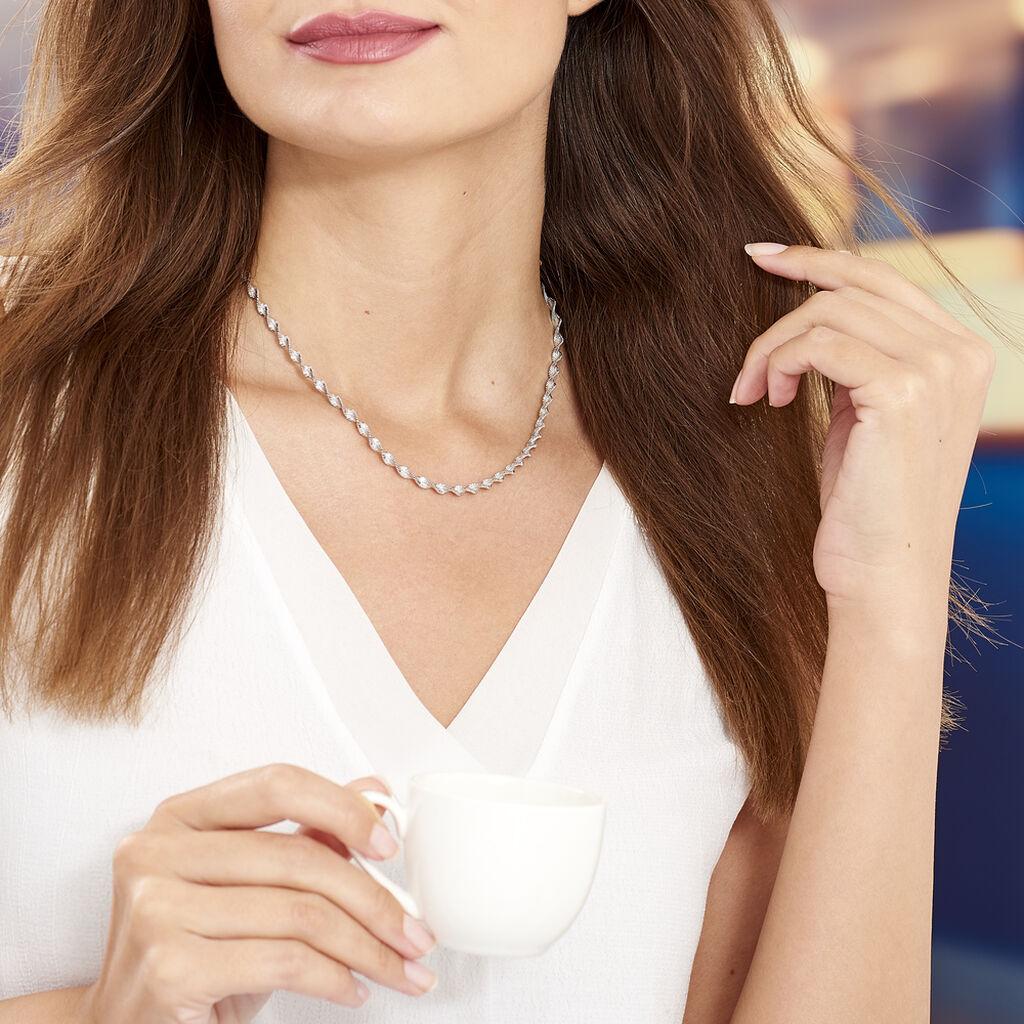 Collier Ciana Torsade Diamante Argent Blanc - Chaines Femme | Histoire d'Or