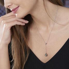 Collier Perrine Or Blanc Perle De Culture De Tahiti Et Diamant - Bijoux Femme | Histoire d'Or