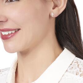 Boucles D'oreilles Puces Gaiana Argent Blanc - Boucles d'Oreilles Croix Femme | Histoire d'Or