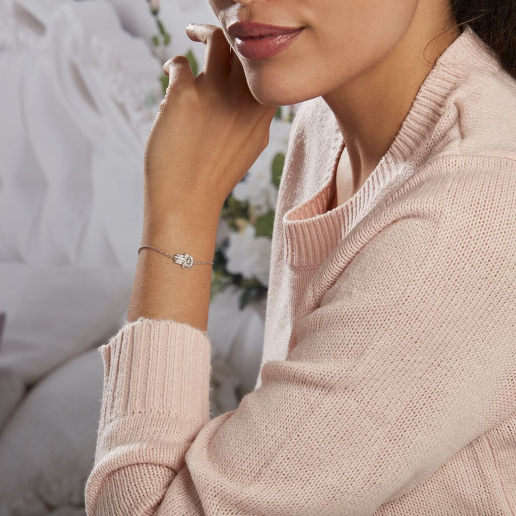Bracelet Asnia Argent Blanc Oxyde De Zirconium - Bracelets Main de Fatma Femme   Histoire d'Or