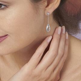 Boucles D'oreilles Pendantes Dennis Or Blanc Topaze - Boucles d'oreilles pendantes Femme | Histoire d'Or