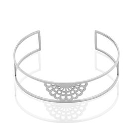 Bracelet Manchette Lyana Acier Blanc - Bracelets fantaisie Femme | Histoire d'Or